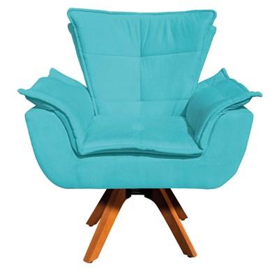 Poltrona Decorativa Sala de Estar Base Giratória Madeira Opla Suede Azul Tiffany- Ibiza