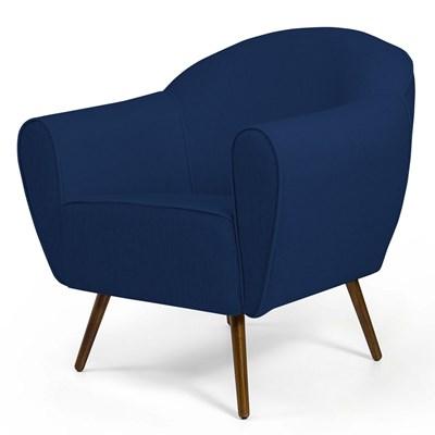 Poltrona Decorativa Sala de Estar Nina Pés Palito Madeira B-304 Veludo Azul Marinho - Domi
