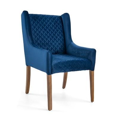 Poltrona Decorativa Tressê Belle Base Madeira Veludo Azul - Domi