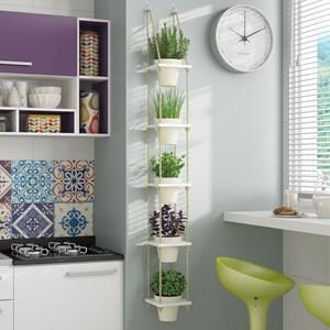 Prateleira de Parede Decorativa Nature BPL25 com Vasos Branco - BRV