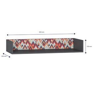 Prateleira de Parede Decorativa Retrô 1004 Espresso/Vermelho - BE Mobiliário