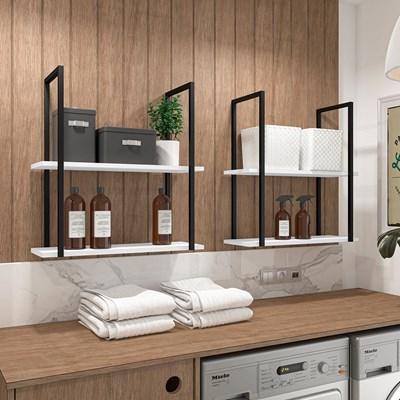 Prateleira Decorativa Multiuso Estilo Industrial Loft D09 Branco - Mpozenato