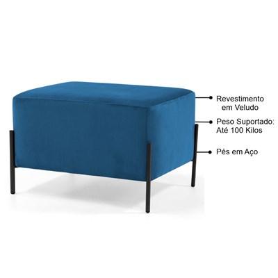Puff Decorativo 60cm Base Aço Status B-170 Veludo Azul - Domi