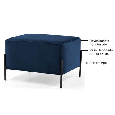 Puff Decorativo 60cm Base Aço Status B-304 Veludo Azul Marinho - Domi