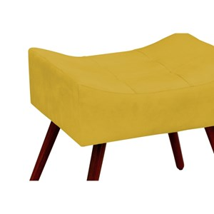 Puff Decorativo Alice Pés Palito Amarelo - Condor Decor