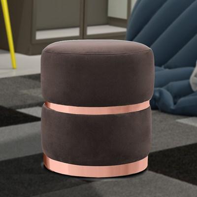 Puff Decorativo Com Cinto e Aro Rosê Round B-261 Veludo Marrom - Domi