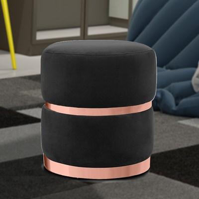 Puff Decorativo Com Cinto e Aro Rosê Round B-300 Veludo Preto - Domi