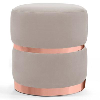 Puff Decorativo Com Cinto e Aro Rosê Round B-309 Veludo Bege Claro - Domi