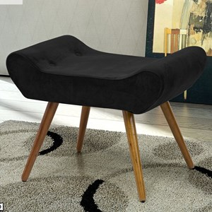 Puff Decorativo Laura Suede Animale Preto - Bremol