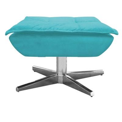 Puff Decorativo Sala de Estar Base Giratória Cromada Opla Suede Azul Tiffany- Ibiza