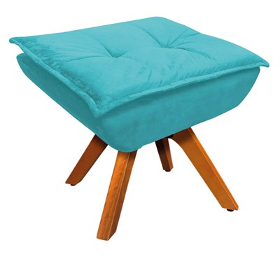 Puff Decorativo Sala de Estar Base Giratória Giromad Opla Suede Azul Tiffany- Ibiza