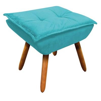 Puff Decorativo Sala de Estar Pés Palito Opla Suede Azul Tiffany- Ibiza