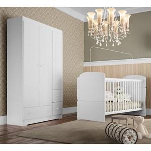 Quarto de Bebê Berço BB520 e Guarda Roupa BB830 Branco - Completa Móveis