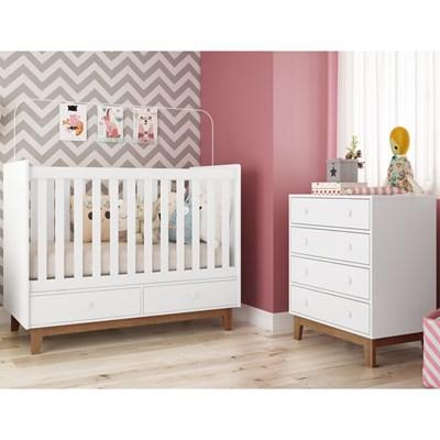 Quarto de Bebê Berço Certificado pelo Inmetro BY110 e Cômoda BY120 Branco - Completa Móveis