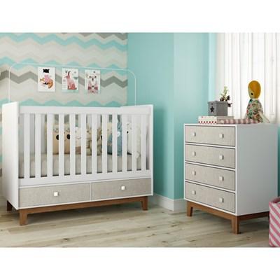 Quarto de Bebê Berço Certificado pelo Inmetro BY110 e Cômoda BY120 Branco/Nude - Completa Móveis