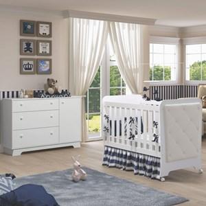 Quarto de Bebê Cômoda 1 Porta e Berço Botonê Carícia Branco - Móveis Estrela