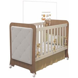 Quarto de Bebê Cômoda 1 Porta e Berço Botonê Carícia Off White/Almendra - Móveis Estrela