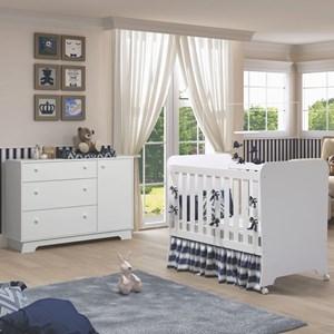 Quarto de Bebê Cômoda 1 Porta e Berço Clean Carícia Branco - Móveis Estrela