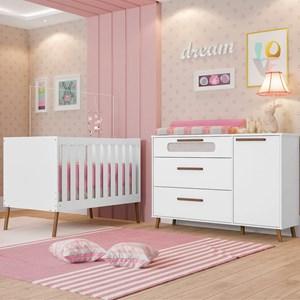 Quarto de Bebê Cômoda 1 Porta e Berço Retrô Bibi Branco - Móveis Estrela