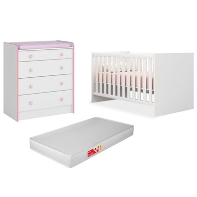 Quarto de Bebê Cômoda 2523 e Berço 1344 Certificado pelo Inmetro Doce Sonho com Colchão Branco/Rosa - Qmovi