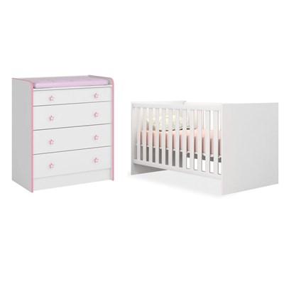 Quarto de Bebê Cômoda 2523 e Berço Mini Cama 1344 Certificado pelo Inmetro Doce Sonho Branco/Rosa - Qmovi