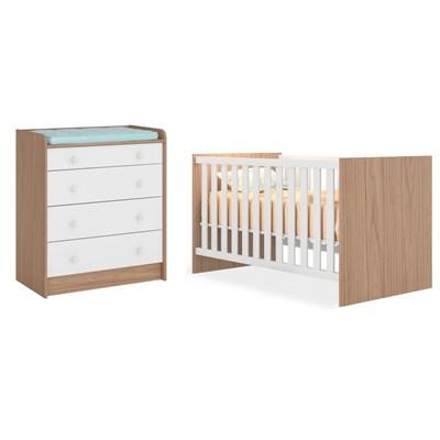 Quarto de Bebê Cômoda 2523 e Berço Mini Cama 1344 Certificado pelo Inmetro Doce Sonho Carvalho/Branco - Qmovi