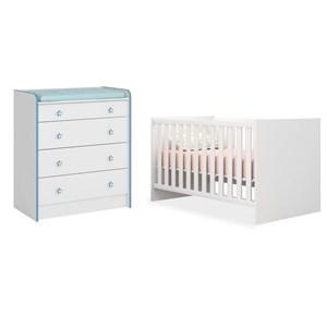 Quarto de Bebê Cômoda 2523 e Berço Mini Cama 1344 Doce Sonho Branco/Azul - Qmovi