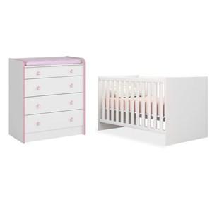 Quarto de Bebê Cômoda 2523 e Berço Mini Cama 1344 Doce Sonho Branco/Rosa - Qmovi