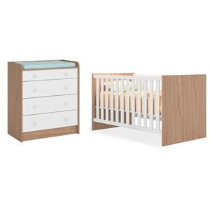Quarto de Bebê Cômoda 2523 e Berço Mini Cama 1344 Doce Sonho Carvalho/Branco - Qmovi