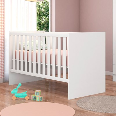 Quarto de Bebê Cômoda 2561 e Berço 1344 Certificado pelo Inmetro Doce Sonho com Colchão Branco - Qmovi