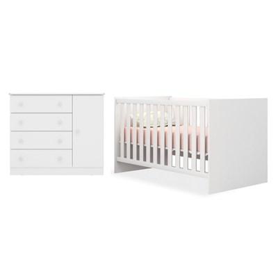 Quarto de Bebê Cômoda 2561 e Berço Mini Cama 1344 Certificado pelo Inmetro Doce Sonho Branco - Qmovi