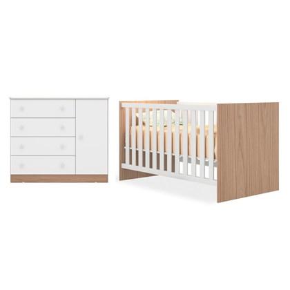 Quarto de Bebê Cômoda 2561 e Berço Mini Cama 1344 Certificado pelo Inmetro Doce Sonho Carvalho/Branco - Qmovi