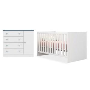 Quarto de Bebê Cômoda 2561 e Berço Mini Cama 1344 Doce Sonho Branco/Azul - Qmovi