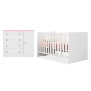 Quarto de Bebê Cômoda 2561 e Berço Mini Cama 1344 Doce Sonho Branco/Rosa - Qmovi