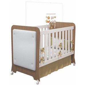 Quarto de Bebê Cômoda 3 Gavetas e Berço Carícia Tressê Branco/Almendra - Móveis Estrela