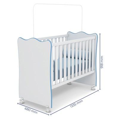 Quarto de Bebê Cômoda 4 Gavetas Certificado pelo Inmetro Doce Sonho e Berço Simples Branco/Azul - Qmovi