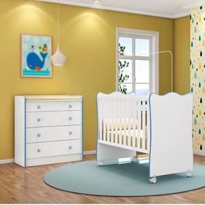Quarto de Bebê Cômoda 4 Gavetas Doce Sonho e Berço Simples Branco/Azul - Qmovi