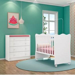 Quarto de Bebê Cômoda 4 Gavetas Doce Sonho e Berço Simples Branco - Qmovi
