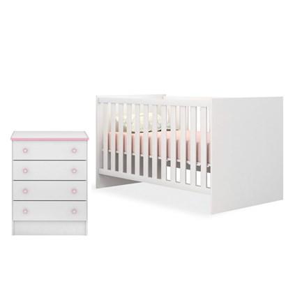 Quarto de Bebê Cômoda 777 e Berço Mini Cama 1344 Certificado pelo Inmetro Doce Sonho Branco/Rosa - Qmovi