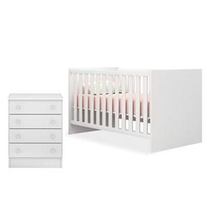 Quarto de Bebê Cômoda 777 e Berço Mini Cama 1344 Doce Sonho Branco - Qmovi