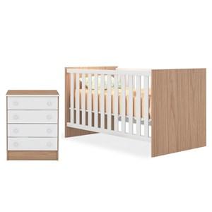 Quarto de Bebê Cômoda 777 e Berço Mini Cama 1344 Doce Sonho Carvalho/Branco - Qmovi