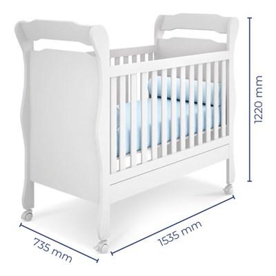 Quarto de Bebê Cômoda Amore 1 Porta e Berço Colonial Certificado pelo Inmetro Branco - Qmovi