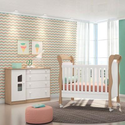 Quarto de Bebê Cômoda Amore 1 Porta e Berço Colonial Certificado pelo Inmetro Carvalho/Branco - Qmovi