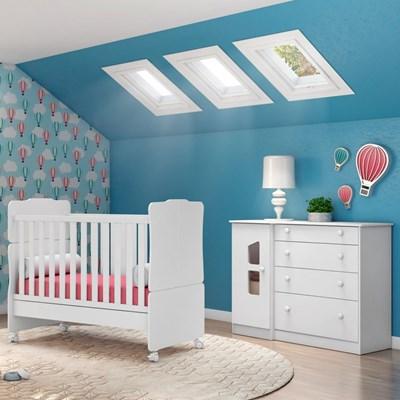 Quarto de Bebê Cômoda Amore 1 Porta e Berço Mini Cama Certificado pelo Inmetro Branco - Qmovi