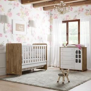 Quarto de Bebê Cômoda Amore e Berço Ninare Branco/Teka - Matic