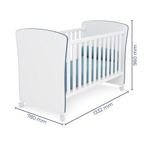 Quarto de Bebê Cômoda Doce Sonho e Berço 2484 Branco/Azul - Qmovi