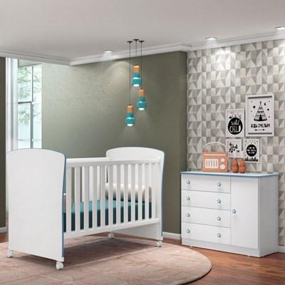Quarto de Bebê Cômoda Doce Sonho e Berço Certificado pelo Inmetro 2484 Branco/Azul - Qmovi