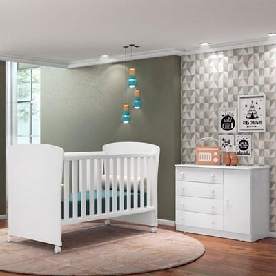 Quarto de Bebê Cômoda Doce Sonho e Berço Certificado pelo Inmetro 2484 Branco - Qmovi
