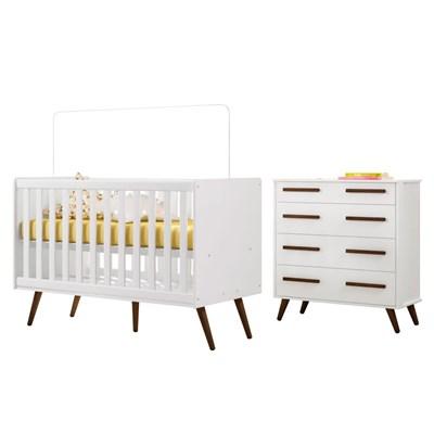 Quarto de Bebê Cômoda e Berço Mini Cama Certificado pelo Inmetro Retrô Branco - Qmovi
