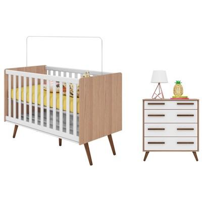 Quarto de Bebê Cômoda e Berço Mini Cama Certificado pelo Inmetro Retrô Carvalho/Branco - Qmovi